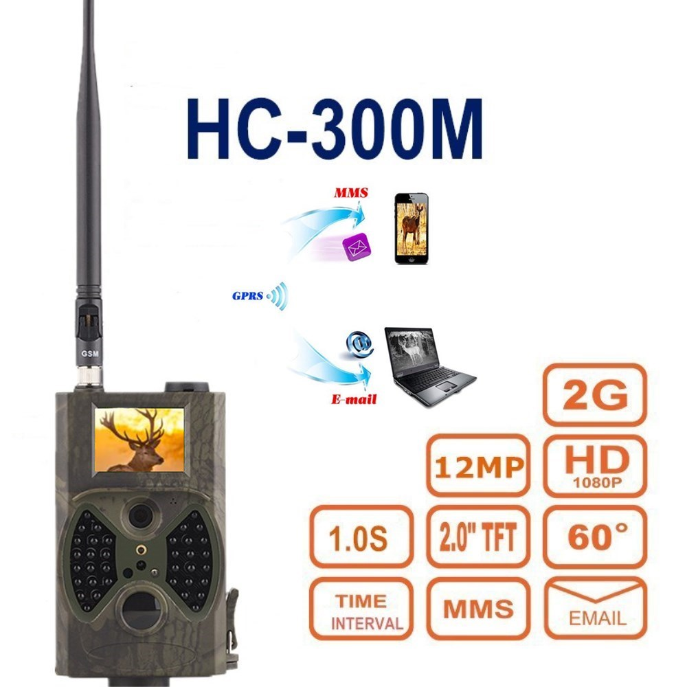 Suntek HC300M Hunting Camera 2G GPRS MMS SMTP SMS 12MP 1080P 100 Degrees PIR Sensor Sight Angle Wildlife Trail Camera