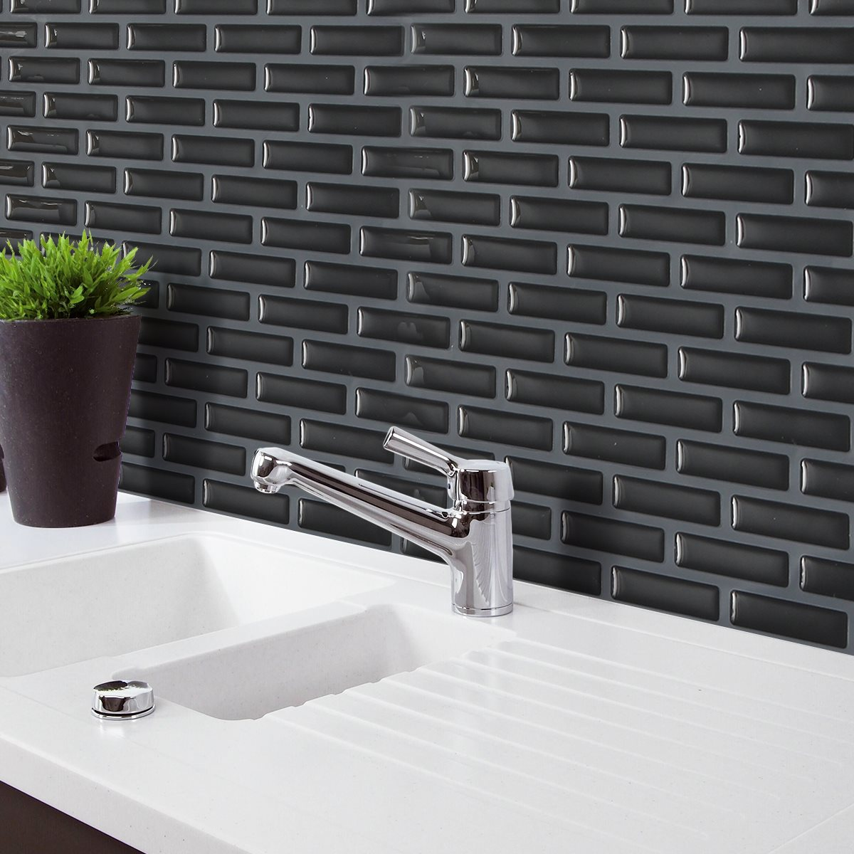 Best Kitchen Gallery: 3d Black Brick M Osaic Wall Sticker Kitchen Bathroom Foil Beauty 3d of Foil Kitchen Tile on rachelxblog.com