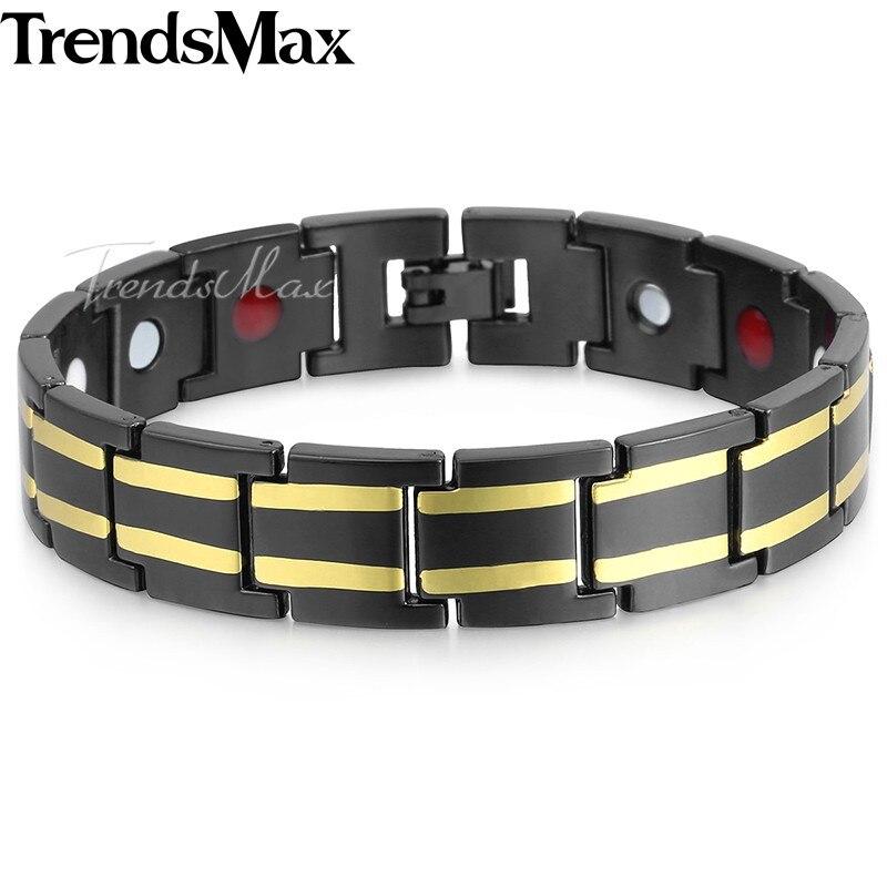 Men's Health Bracelets Bangles Magnetic Power Stainless Steel Bracelet Jewelry for Men Dropshipping 2018 Black 14mm 20cm KB583
