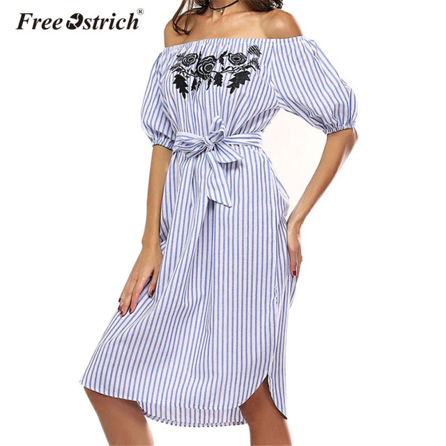 Free Ostrich Striped Dress Women Off Shoulder 2018 Fashion Short Sleeve Slash Neck Print Floral Stripe Dress Beach Vestidos 4243