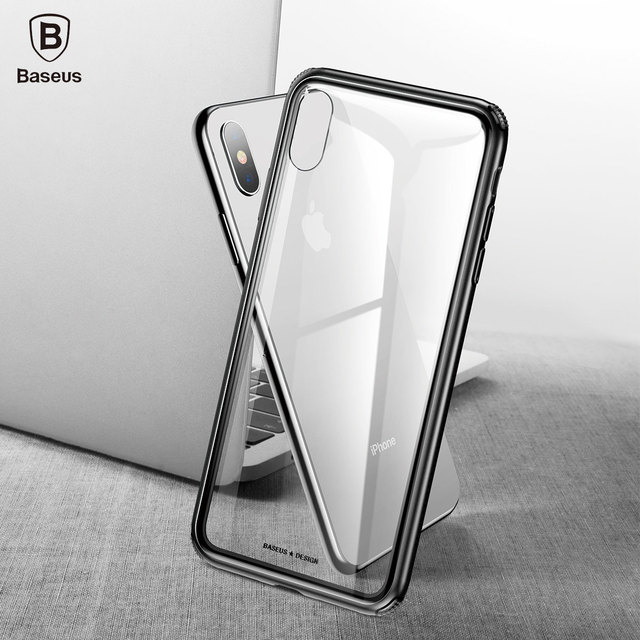 new arrival 14173 d99c8 US $9.99 |BASEUS Phone Case for iphone Xs XR Xs Max case hard See through  Glass + Soft TPU Hybrid Phone Case for iphone XR Xs Max coque-in Fitted ...