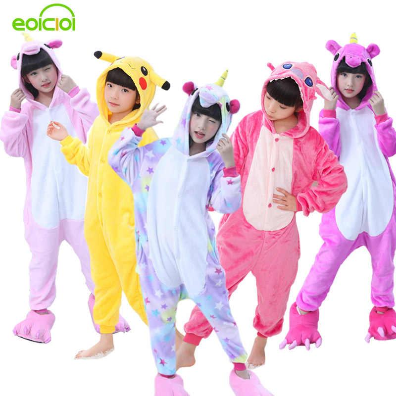 EOICIOI фланелевые детские пижамы зимний комплект с капюшоном животные  Единорог Наклейка с Пикачу детские пижамы для 97ea5e7ed2191