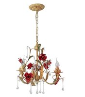 Rose Pendant Lights Flower Drop Crystal Flower Hanging Lamp Home Decor Romantic Living Room Bedroom Lamp Led Art Lamps Pendant