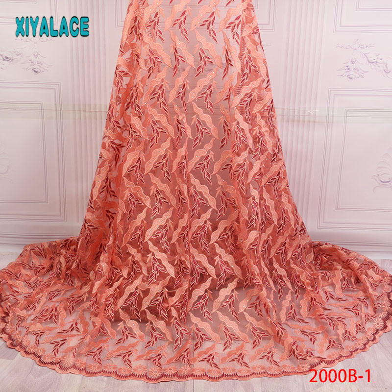 Latest African Lace Fabric Tulle Lace Fabric 2018 High Quality Lace Embroidered French Cord Lace Fabric For Women  PGC2000B-1