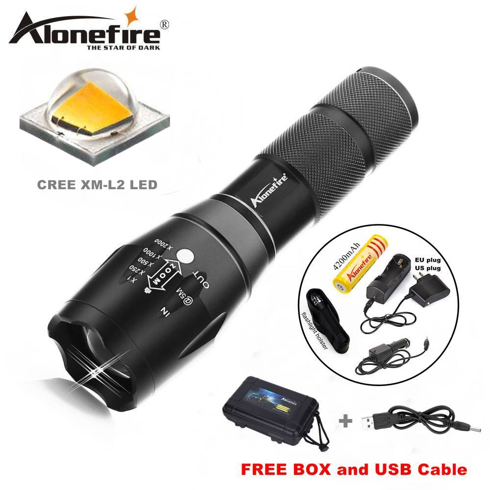 Alonefire G700/E17/X800 CREE XML T6 L2 U3 LED 5000Lm Zoom Tactical LED Flashlight Torch Lamp For AAA 18650 Rechargeable Battery tactical ultraviolet flashlight detector 365 nm led uv lanternas sk98 purple light cree xml q5 violet torch lamp by aa 14500