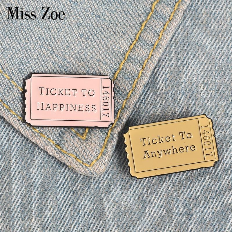 Broches de bilhete personalizados, bolsas de bagagem para casal em qualquer lugar, broches para esmalte, presente de joias criativas