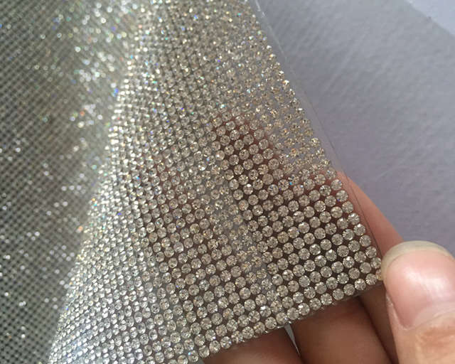 SS8 Clear Crystal Rhinestone Beaded Trim Diamond Mesh Hotfix or self  ADHESIVE roll strass Applique Banding for Decorat  a58d8ec5264f