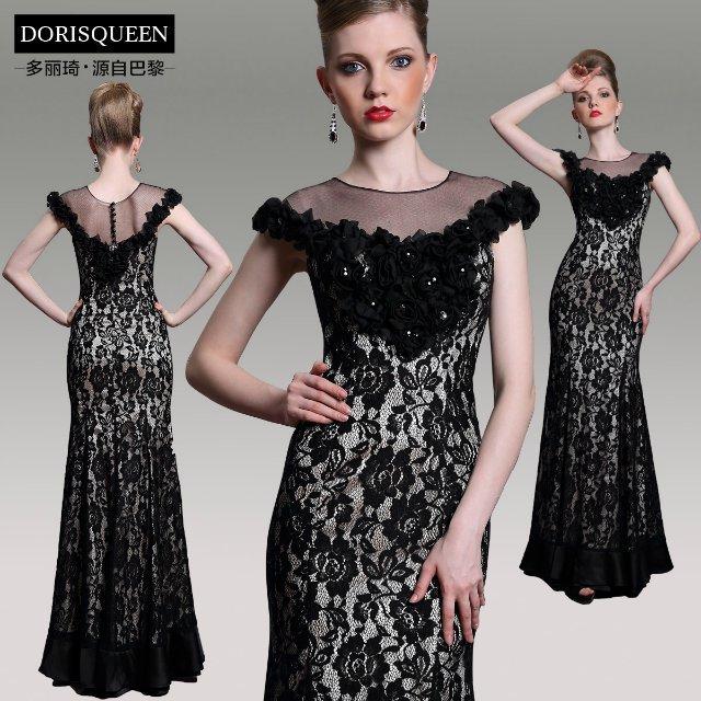 Envío Gratis nueva moda 2018 vestidos piso de longitud vestido formal negro  largo del cordón del Partido de tarde elegante Madre de la novia vestido b81f9fad53f9