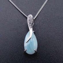 טבעי Larimar 100% 925 סטרלינג כסף תליון טיפת מים צורת אמיתי אבן קסם תליון לנשים מתנה ללא שרשרת