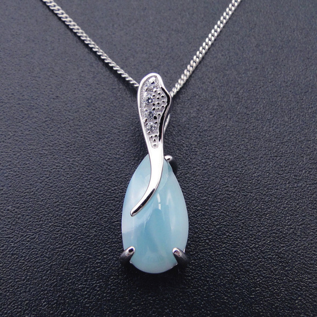Natural Larimar 100% 925 Sterling Silver Pendant Water Drop Shape Genuine Stone Charm Pendant for Women Gift without Chain