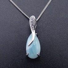 Natural Larimar 100% 925 Sterling Silver wisiorek w kształcie kropli wody kształt prawdziwy kamień urok wisiorek dla kobiet prezent bez łańcucha