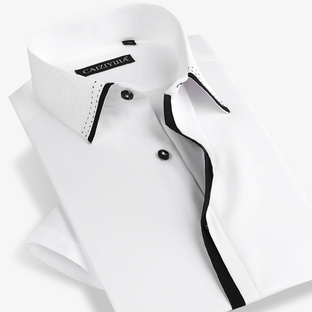 Summer 2017 Men's Short Sleeve Dress Shirts 100% Cotton Comfort Soft Lightweight slim Fit Black whitePatchwork Button Down Shirt