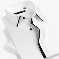 Summer 2017 Men S Short Sleeve Dress Shirts 100 Cotton Comfort Soft Lightweight Slim Fit Black