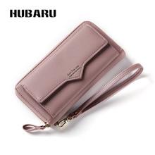 Купить с кэшбэком HUBARU Women Wallets Zipper Wallet Female Fashion PU Leather Slim Design Coin Purse Black Color Clutch Clamp For Money Standard