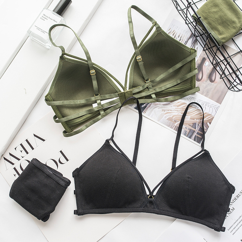 Wasteheart 2018 New Women Fashion Green Sexy Lingerie   Sets   Wireless Trim   Bras   Straps Cotton Panties Hole   Bra     Set   Women Underwear