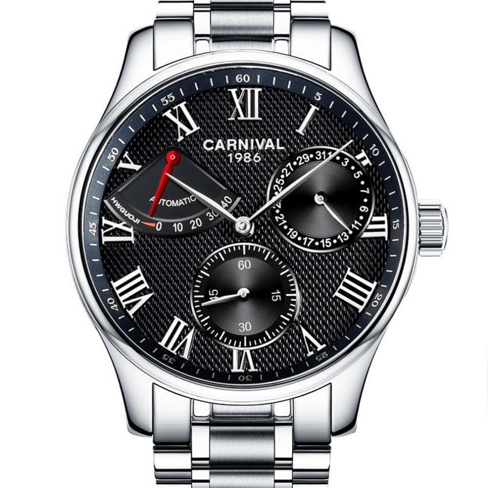0bfc306e0b54 Carvinal мужские Бизнес Многофункциональный Сталь ремешок Самовзводные  механические часы наручные часы-серебристый ободок черный циферблат