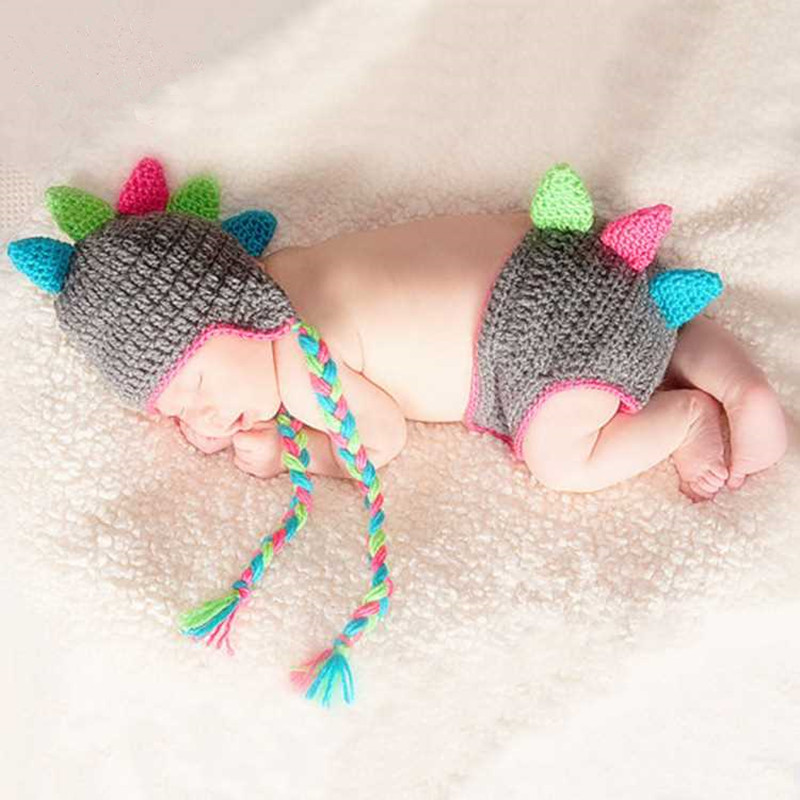 Newborn Photography Props Accessories Crochet Baby Outfits Dinosaur Hat+Trousers Set Knitted Baby Photo Accessory New Born Props