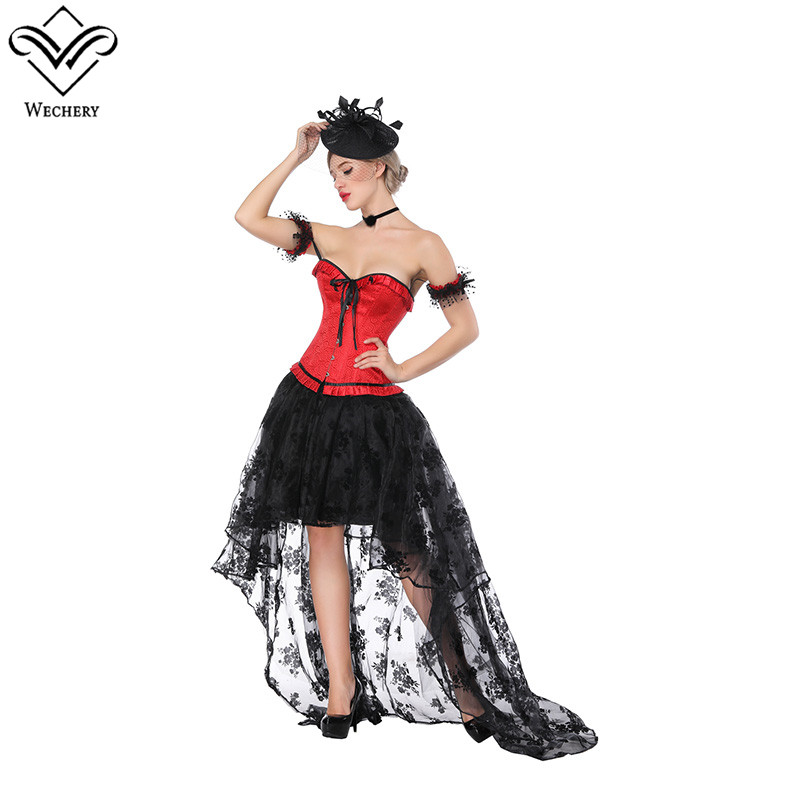 Wechery Red Corset Skirt Floral Long High Low Skirts with Sleeveless Slimming Corset Lace Floor Length Skirt and Bow Bustier