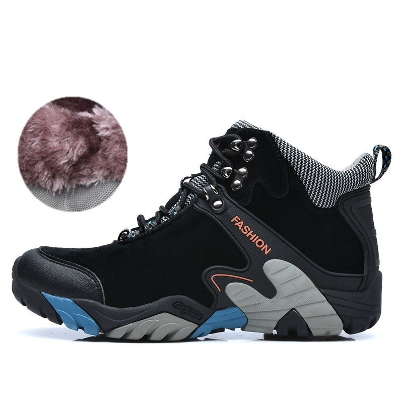 Winter Outdoor High Top Waterproof hiking Shoes Men Genuine Leather hiking Sneakers Men winter men s outdoor warm cotton hiking sports boots shoes men high top camping sneakers shoes chaussures hombre