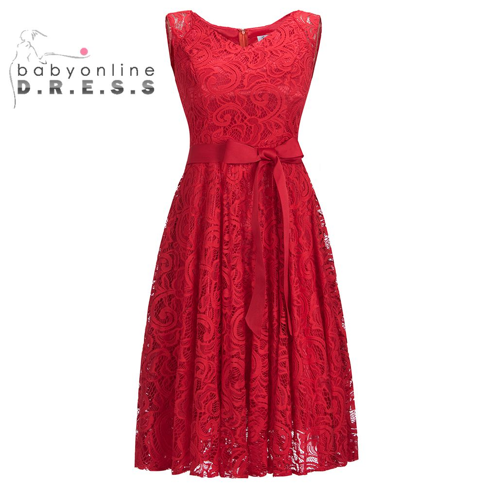 Sleeveless V-Neck Burgundy Vintage Short Lace   Evening     Dresses   2019 A Line Formal Plus Size Abendkleider Robe De Soiree