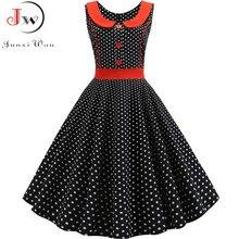 שחור מנוקדת מודפס בציר שמלת נשים קיץ רטרו 50s 60s פין עד רוקבילי המפלגה שמלת Robe Vestidos בתוספת גודל