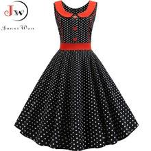 Black Polka Dot Printed Vintage Dress Women Summer Retro 50s 60s Pin Up Rockabilly Party Dress Robe Vestidos Plus Size
