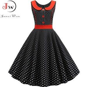 Image 1 - Robe de soirée rétro, noir, imprimé à pois, Vintage, taille 50s 60s, Pin Up, tenue de soirée, Rockabilly, été