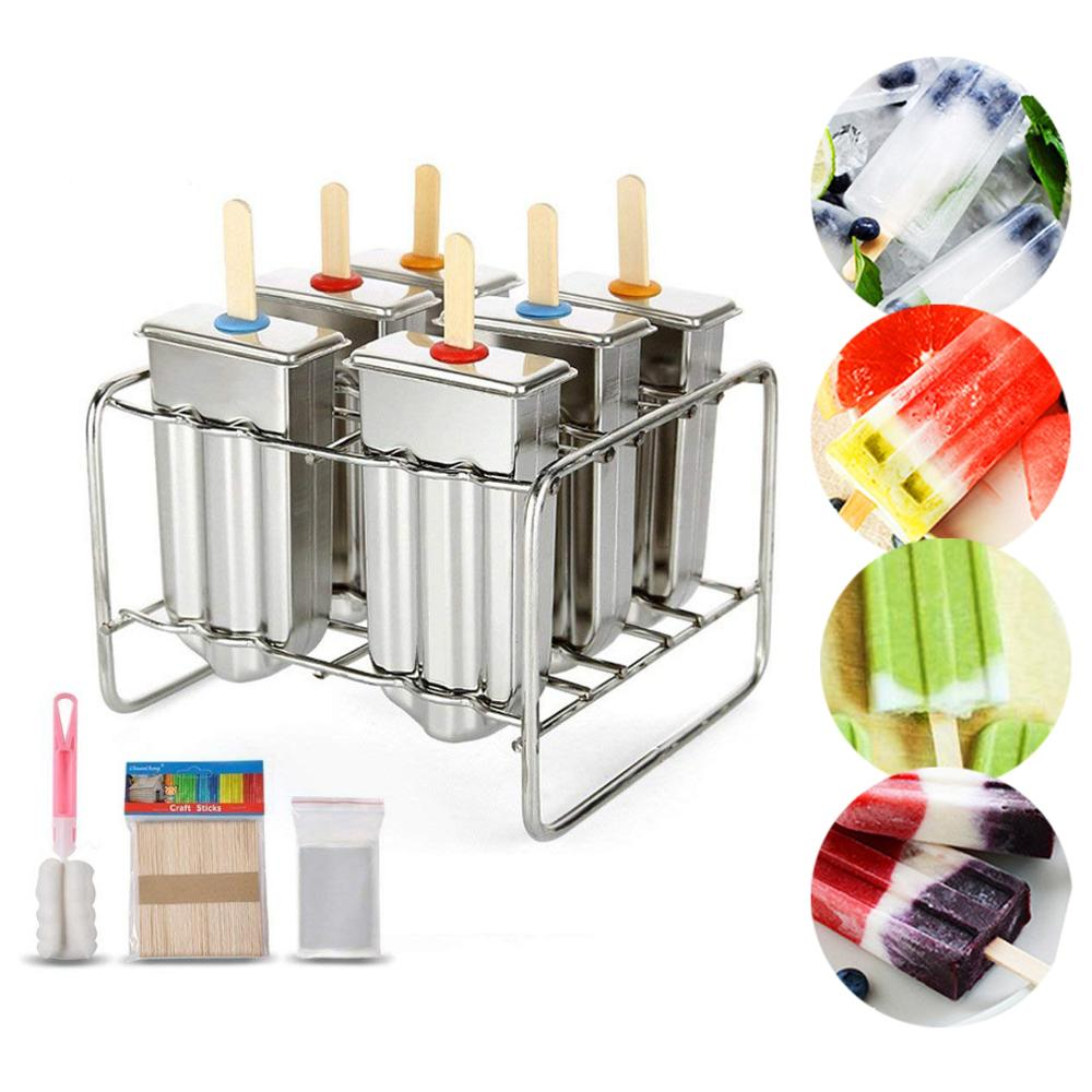 Baffect Stainless Steel Popsicle Mould With Stick Holder Family Ice Cream Mold set of 6 Kitchen Tool Мельница
