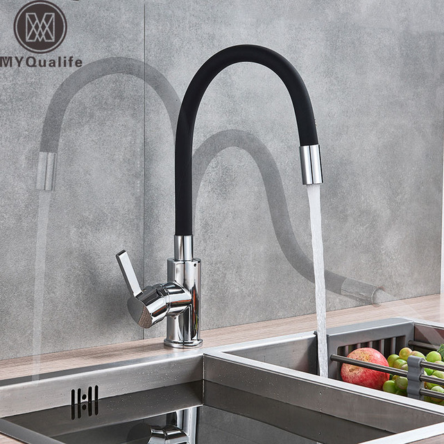Black Pipe Chrome Kitchen Sink Faucet Flexible Rubber Neck Hot Cold Water Mixer Tap Deck Mounted Rotate Kitchen Tap