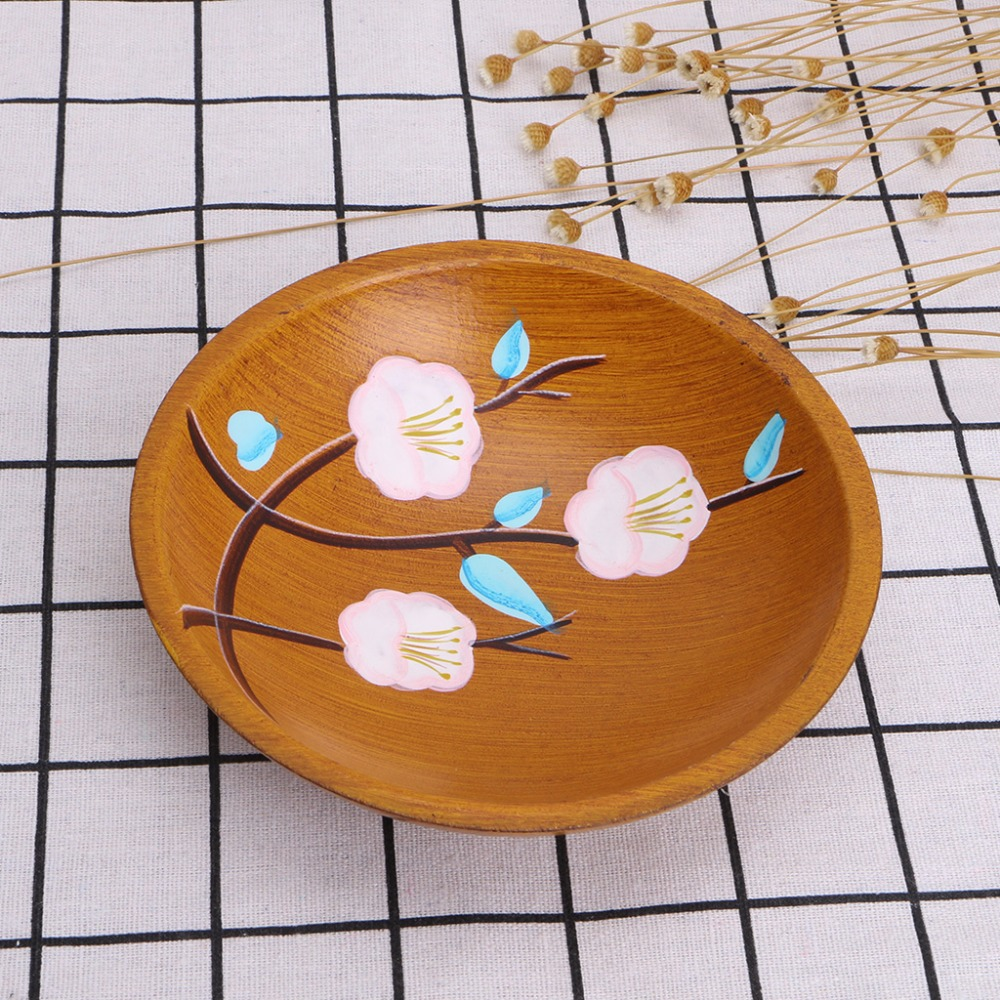 Hand Painted Flowers Serving Plate Round Fruit Dessert Snack Candy Platter Bowls Home Tableware C42