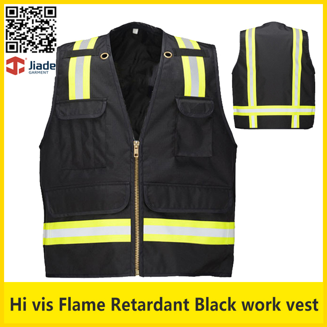 Flame retardant Work vest with reflective stripes oxford fabric workwear safety clothing