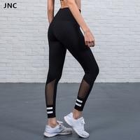 2017 Thick Mesh Leggings White Stripe Patchwork Black Fitness Legging Contrast Yoga Pants Autumn Winter Sports Legging For Women