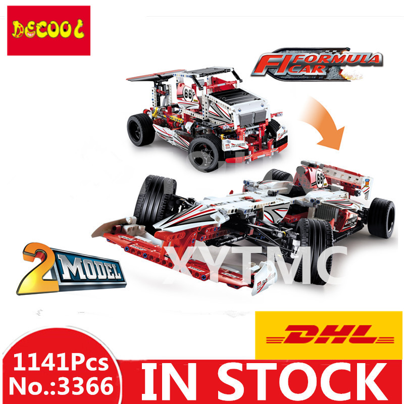 IN STOCK DHL Decool 3366 1141pcs Technic 2 In 1 F1 Formula Racing Car Building Block Compatible legoineg 42000 Brick Toy in stock dhl decool 3333 building blocks toy 1 10 car model supercar red assemblage racing brain game gift clone 8145