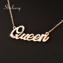 SINLEERY Hot Fashion Queen Letter Pendant Necklace For Women Rose Gold Color Crystal Short Chain Necklaces Xl331 SSJ