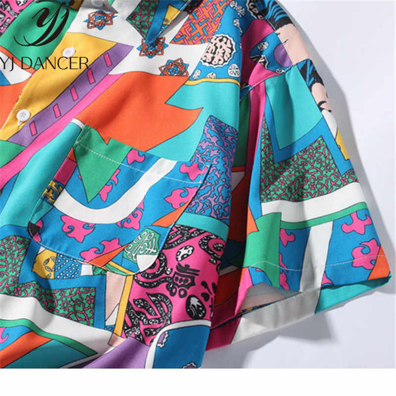 Ms w stylu Hip Hop luźne Harajuku koszula japoński Ukiyo E  Mo3h4
