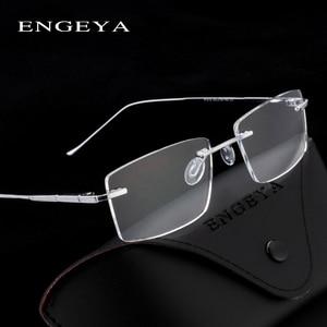 Image 2 - المعادن النظارات الرجال البصرية شفافة مربع موضة العلامة التجارية مصمم إطارات نظارات وصفة طبية مرونة المفصلي # IP378