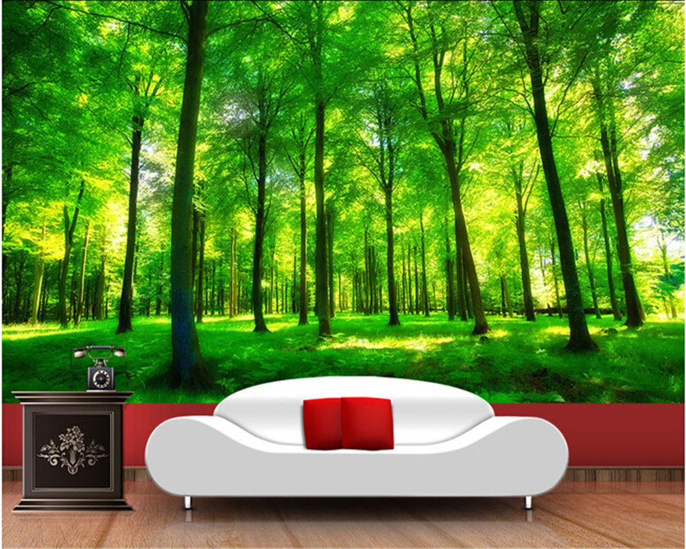 Custom nature wall murals, green forest landscape used in the bedroom TV KTV wall waterproof vinyl papel DE parede small houses in nature