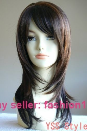 Hot heat resistant Party hair>>>>>>Long Layered Dark Brown Highlight Salon Wigs Hair A15