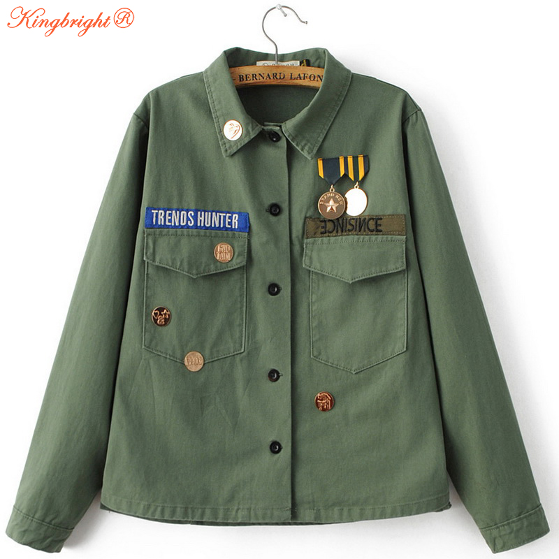 King Bright Fashion Army Green Women Jackets 2017 Female Frock coat Flight Suit Casual Print Jacket Embroidered Patches Women