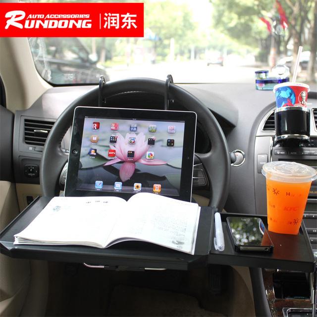 Actualización más reciente cumputer escritorio de la tabla en el volante del coche con el teléfono pad ranura cajón 1508 soporte para Portátiles