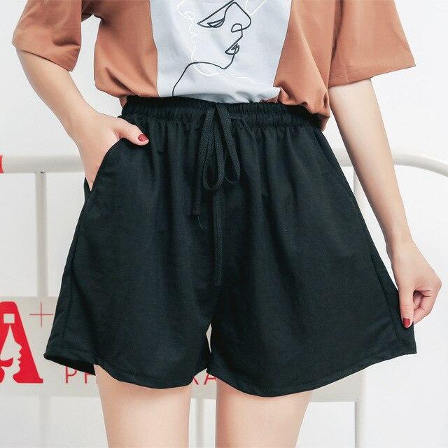 15bc3c845a 5XL Plus Size Shorts Women Loose Casual High Waist Shorts Cotton Wide Leg Black  Shorts 2018 Short Feminino Skirt Shorts 4XL Y083