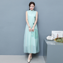 2017 Spring and Summer New Retro Theatrical Really Siou Organza Dress Long Section Improved Hand-painted Cheongsam