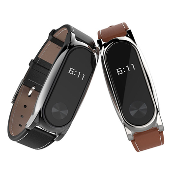 Replacement for Xiaomi Mi Band 2 Wristband Watch Bracelet Leather Band Metal Case Cover Strap