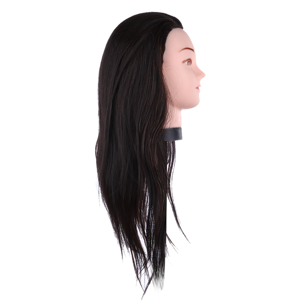 55cm Real Human Hair Profession Hairdressing Training Mannequin Practice Head For Hairdressing Practice Can Be Curled Dyed