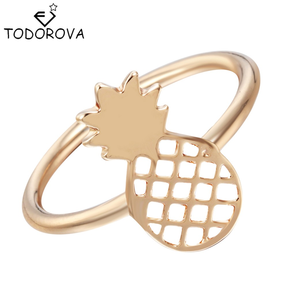 Todorova Fashion Cute Small Pineapple Rings Simple Funny Outline Fruit Rings  Lovely Ananas Rings For Women