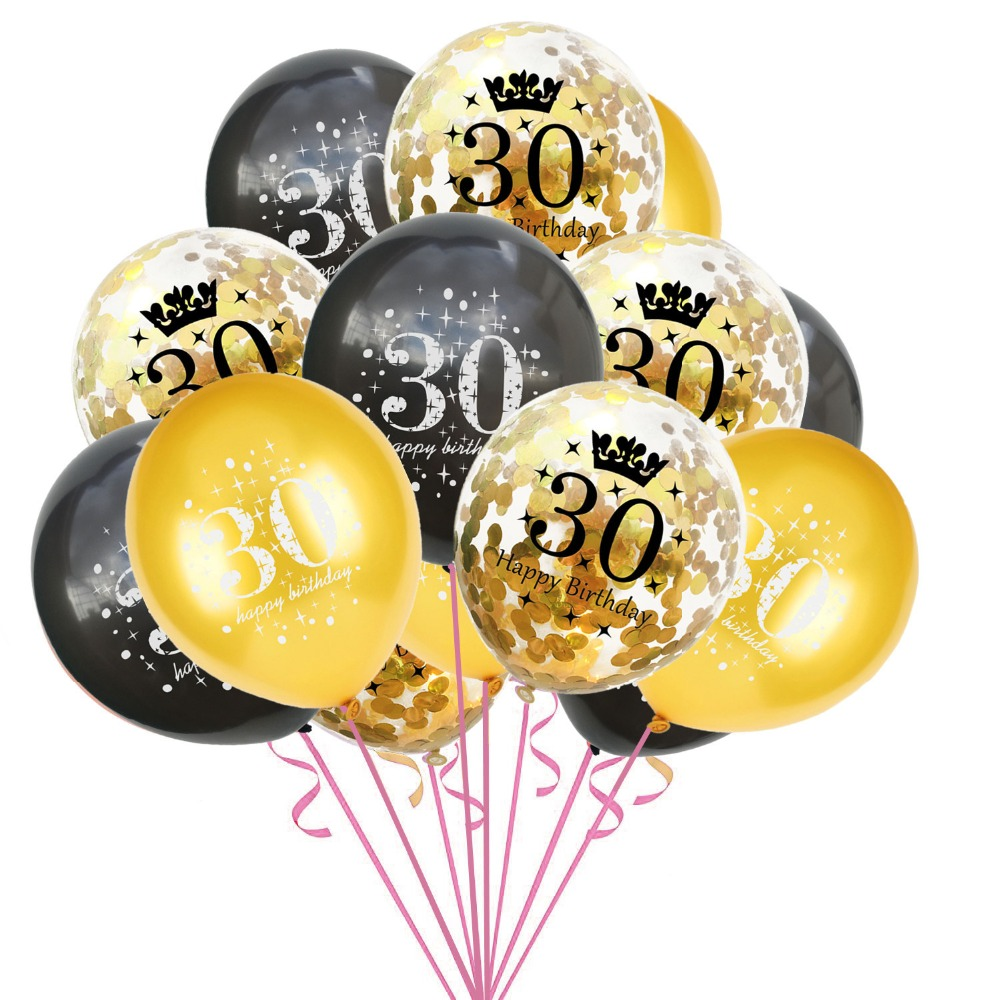 15PCS Mixed Gold Confetti Balloons number 16 <font><b>18</b></font> 30 40 50 60 70 80 <font><b>90</b></font> years old Birthday party digital ballon Latex Globos image