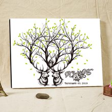 Wedding Accessories Guest Signature Canvas Customized Printing Guest Book Antelope Pattern Tree Guest Signs Wrapped Around Frame
