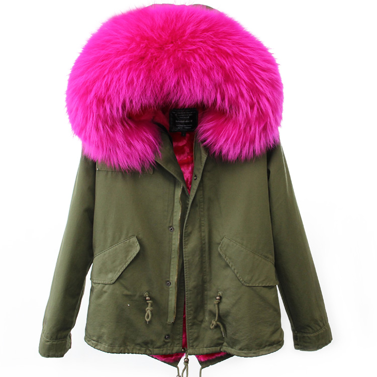 MaoMaoKong 2017 New Women Winter Camouflage Jacket Coat Detachable Good Faux Fur Inner 100 Real Raccoon