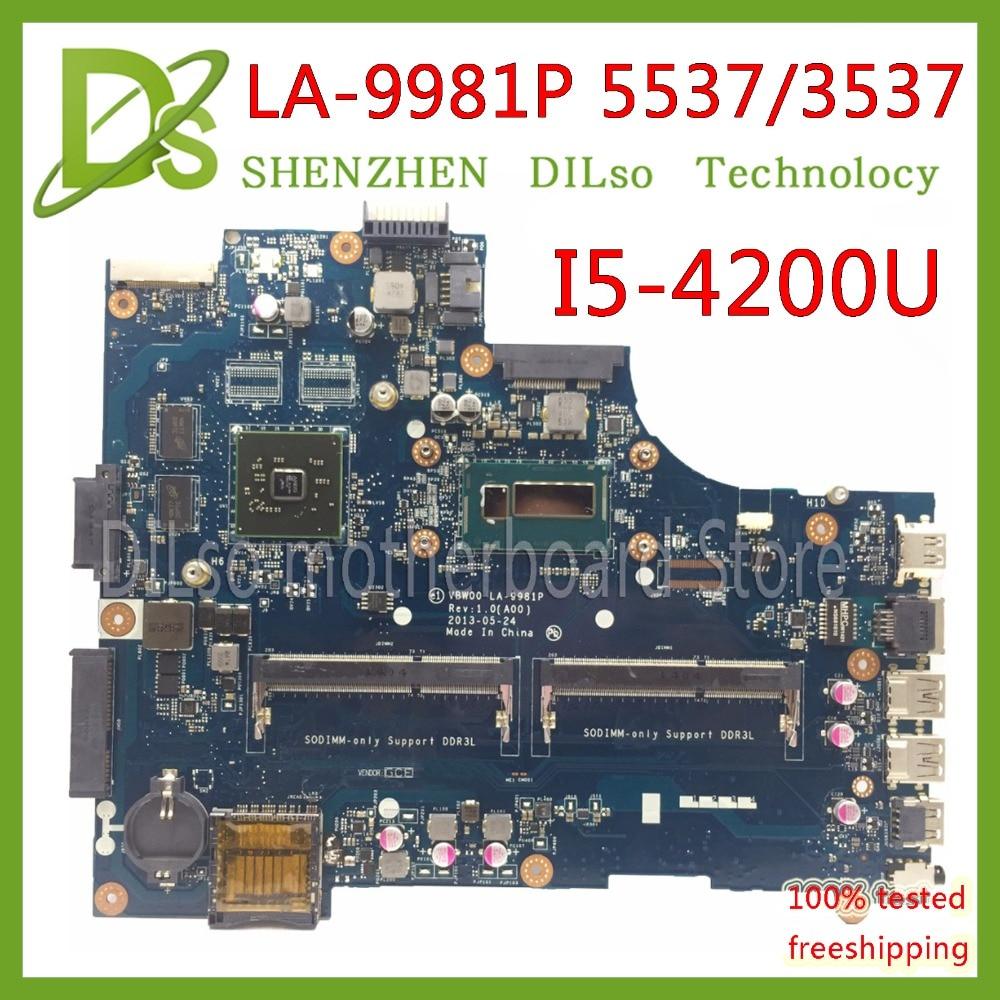 KEFU VBW00 LA-9981P Motherboard For Dell 15R 3537 5537 Laptop Motherboard I5-4200U CPU HD8670M  Original Test Mainboard