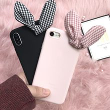 3D Korea Cute rabbit Bow pink cute soft case for Huawei P20 P10 Plus P9 P8 Lite 2017 Mate 10 Y5 Y3 cover for Honor 9 lite coque(China)